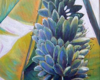 """Impressionist Tropical Landscape Painting, Banana  Tree Oil Painting, """"Gone Bananas"""""""