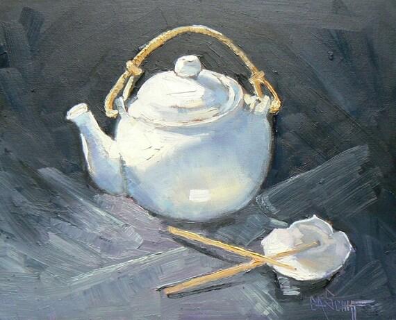 "Still Life Original Oil Teapot Painting, ""Teapot with Lotus Bowl', 8X10"