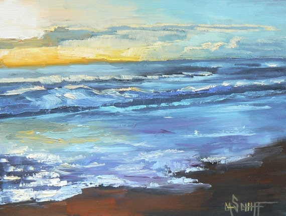 "Seascape,Sunrise Painting, 6x8""Painting, OOAK  Painting,""Sunlight Reflecting on the Surf"".Reserved for LilCrazyBee"
