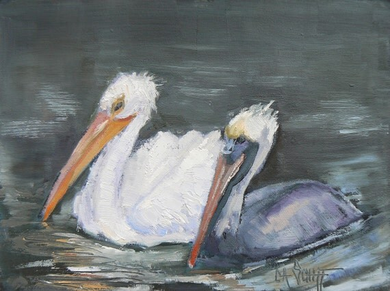 "Daily Painting, Oil Original, Birds, ""Pelican Buddies"", 6x8"""