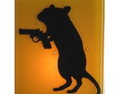 Gerbil With a Gun - Fused Glass  Night Light - Amber