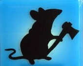 Mouse with a Hatchet - Fused Glass  Night Light - Sky Blue
