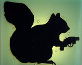 Squirrel Carrying a Snubnose Revolver - Fused Glass Night Light - Sea Green