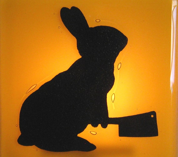 Bunny with a Meat Cleaver - Fused Glass Night Light - Amber