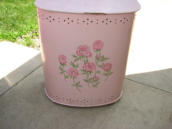 Sweet Vintage Pink Metal Vented Clothes Hamper Painted With