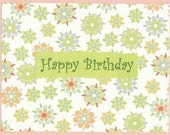 Happy Birthday Note Cards - Set of TEN - Flowers