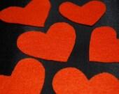 6qty. Orange Felt Hearts, handmade supplies