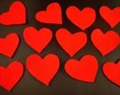 12qty. Red Felt Hearts, handmade supplies
