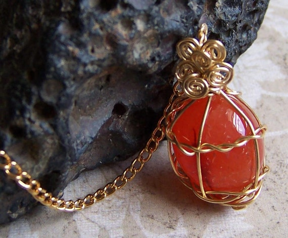 RESERVED for DarkHeartDesign - Carnelian Wire-wrapped Pendant - Stone Necklace OOAK