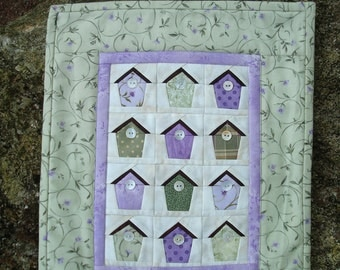 Green and Purple Birdhouse wallhanging