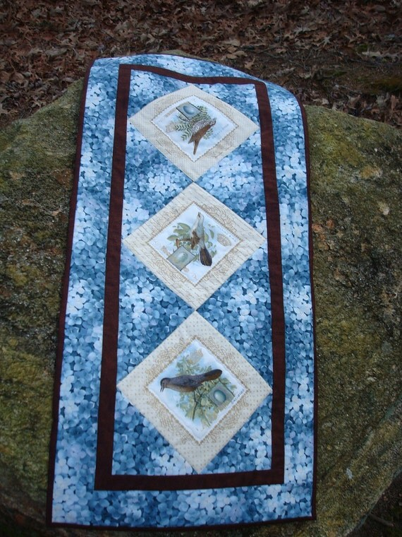 Blue and Brown Birds and Flower Tablerunner