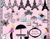 DIGITAL SCRAPBOOKING KITS  Clip Art and paper, Paris , Eiffel Towers,  Poodle,   Flowers,for card making,  stationary, scrapbooking