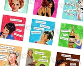 Collage sheet   Set 1 SASSY LADIES 1  inch squares  Retro advertisements,  Funny sayings,  Instant Download,  Altered art