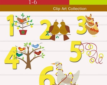 Clip Art, 12 Days of Christmas,  clipart  Digital, INSTANT DOWNLOAD,   Commercial use for Cards, Stationary, digital, Paper Products