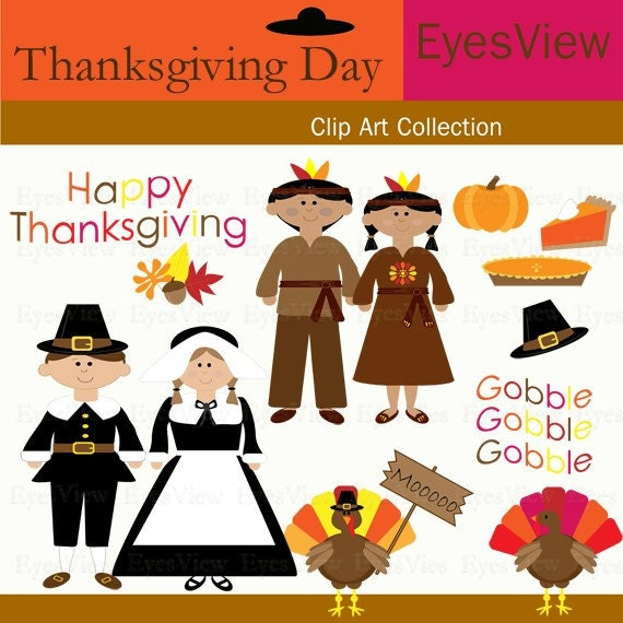 Items similar to ClipArt, Thanksgiving Day, INSTANT ...