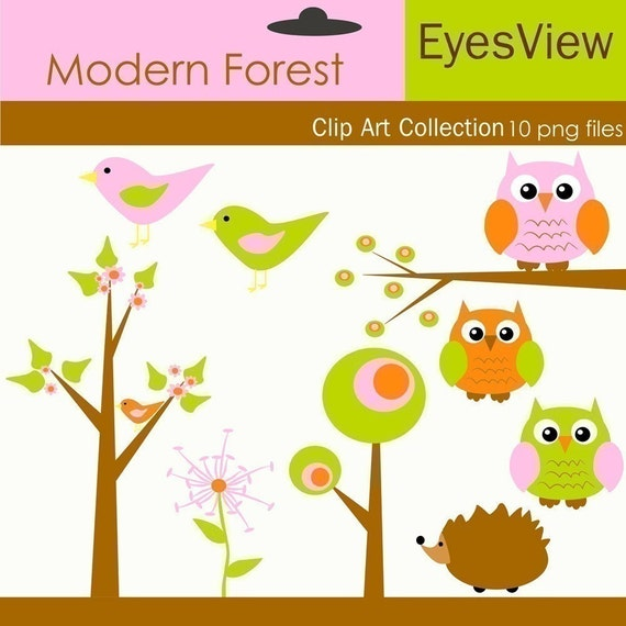 Clip art, Modern Forest,  Digital, clipart, INSTANT DOWNLOAD,  Cards,  scrapbooking and Paper Products , Tree, Owl, Bird, Hedgehog, flower