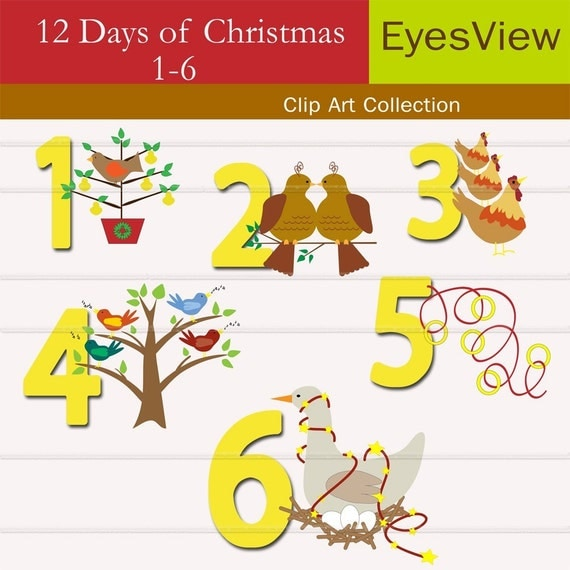 Clip Art, 12 Days of Christmas, clipart Digital, INSTANT DOWNLOAD ...
