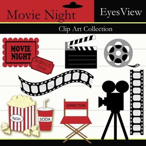 Clipart Movie Night Clip Art INSTANT DOWNLOAD By InkAndWhimsy2