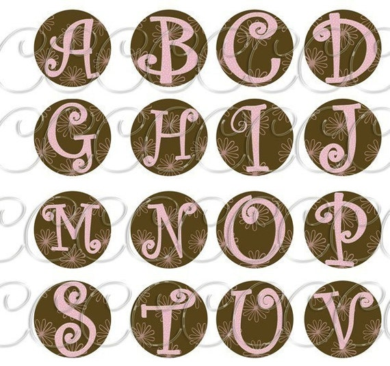 Collage Sheet Fun curly Alphabet Monogram Pink and Brown  1 inch , 1.5 circle bottle cap, glass circle pendants, pebble magnets choose your size