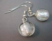 Ice Silver Foil Lampwork Glass Lentil Beads Earrings