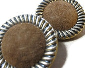 Vintage Brown Suede Button Earrings