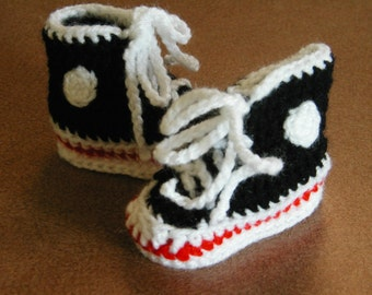 Crochet Baby High Top Tennis Shoes Booties in Black / Red/ Pink or Blue 0-3 months