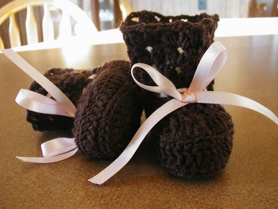 Crochet Chocolate Brown Baby Booties with Pink Satin Ties