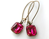 RESERVED - WEDDING PARTY Fuschia Vintage Glass Jewel Brass Earrings