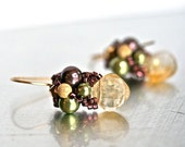 SALE - Citrine Swarovski Pearl Earrings - Meet me in the Vineyard at Dawn