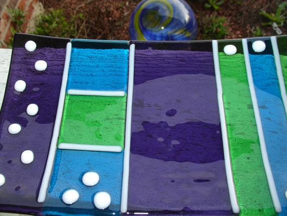 Summer Sale 25% Off Grape Lime Turquoise Modern Fused Glass Sushi Plate