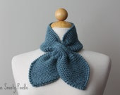 Dusty Blue Knitted Bow Scarflette Neck Warmer