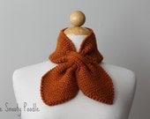 Knitted  Neck Warmer Bow Scarflette Rust Orange