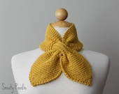 Knitted Neck Warmer Bow Scarflette Mustard Yellow