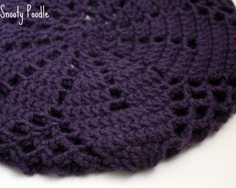 Slouchy Hat Crocheted and Knitted Purple