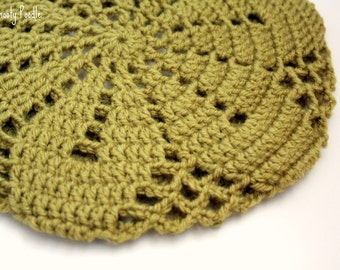 Slouchy Hat Knitted and Crocheted in Pea Green