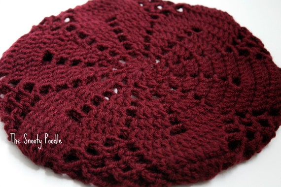 Slouchy Hat Knitted and Crocheted Burgundy
