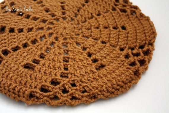 Honey Tan Crocheted and Knitted Slouchy Hat