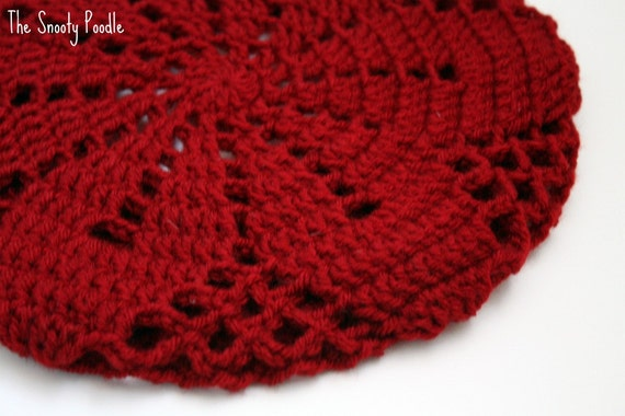 Adult Slouchy Hat Crochet in Cranberry Red