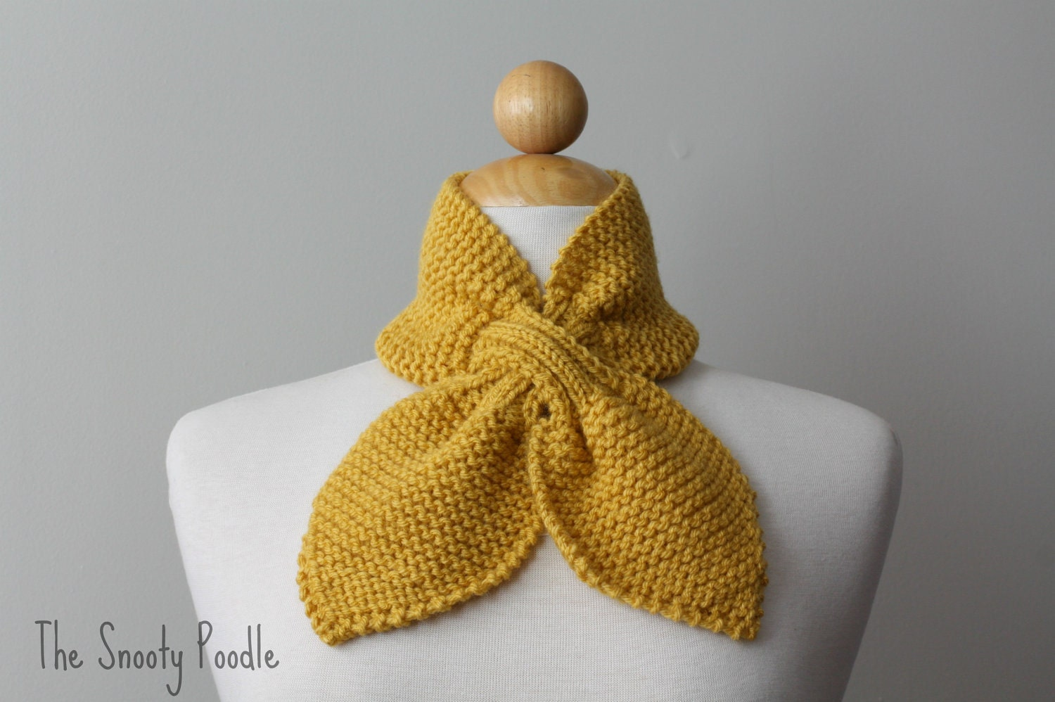 Knitting Patterns For Neck Warmers : Knitted Neck Warmer Bow Scarflette Mustard Yellow