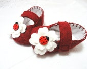 Baby Girl Shoes, Ladybug Buttons, Cranberry Red, , MaryJane Baby Shoes, Size 1 to 4