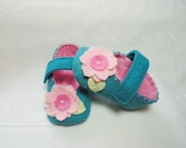 Baby Girl Shoes, Peacock Blue, Shocking Pink, MaryJane Baby Booties, Size 1 to 4