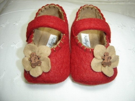 Christmas Gingerbread MaryJanes for Baby Girls