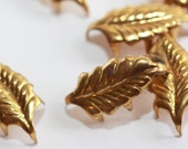 Unusual Vintage Small Gold-Brass Spiked Studs - Leaf Style - Leather and thick material usage (6) Steampunk