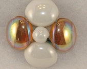 VINTAGE -  Glass Beaded Topaz and Ivory Cabochon embellishments - Heavy, Floral, Marble, Applique (4) 28 mm