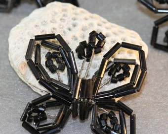 Black Bugle and Seed Beaded VINTAGE BUTTERFLIES