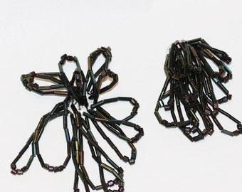 Hand Beaded Black Iridescent Loopy Dangle Vintage Embellishments