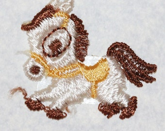 Delicate Vintage Cute Little Silk Embroidered Beige and Brown Pony Tie Applique