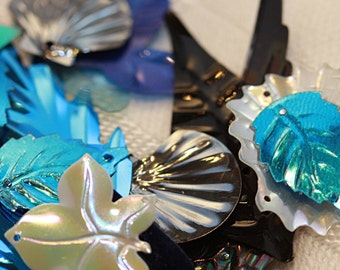 Vintage Sequins Fun Pack - Shiny Black - Electric Blue - Pearly White and Iridescent Beige - Assortment (50)