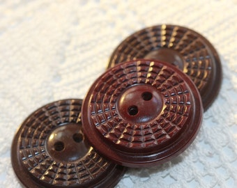 VINTAGE Browns - Radial Deco Design Large Coat Buttons, Dark Roast and Burgundy (3) SALE