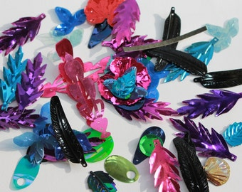 Electric Excitement FUN PACK - VINTAGE Sequins - assortment of hot colors and varied styles (50)